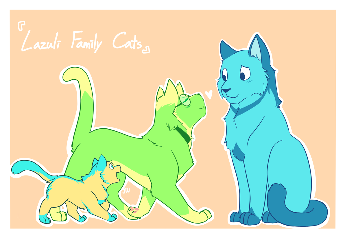 Lazuli Family Cats 猫の日 based on @distractednerd 's Lazuli family au