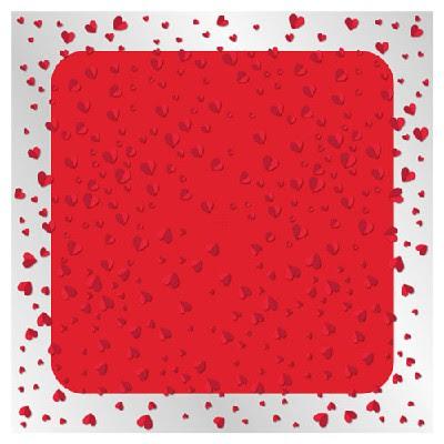 Blonda Cuadrada Diseño Corazones Color Rojo 80 X 80 Cm