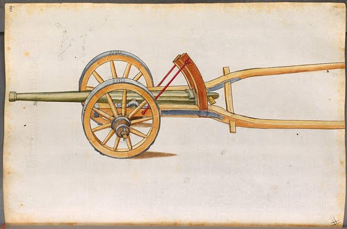 light wheel-mounted cannon with wooden arms to connect to horse