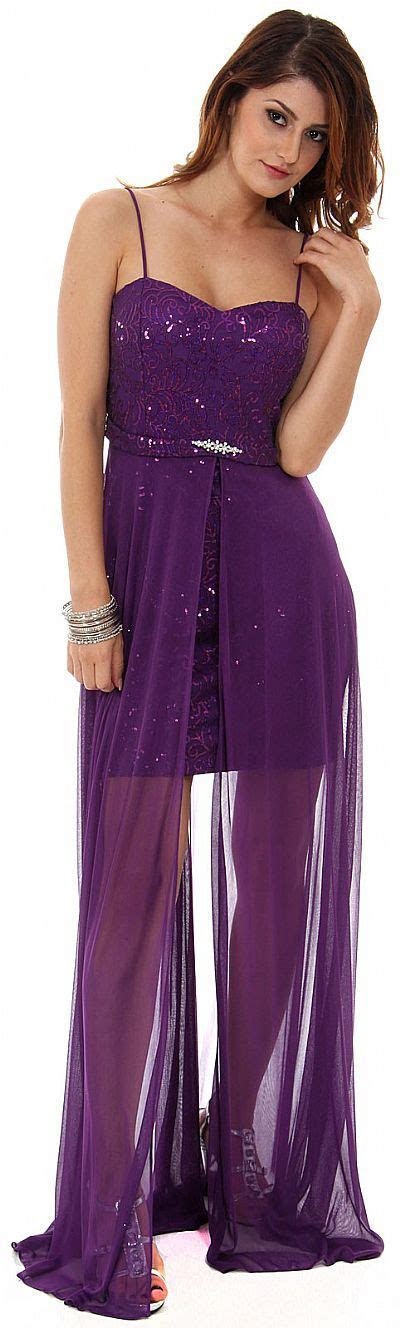 Sequined Short Cocktail Dress with Long Sheer Overlay g3828