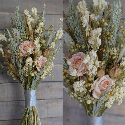 Dried Flower Wedding Bouquet   Peach Vintage Collection