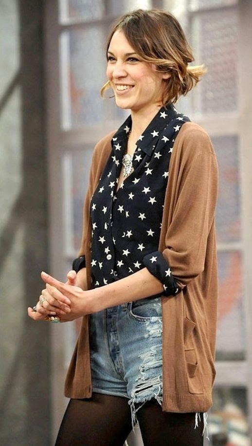 7 Le Fashion Blog 40 Of Alexa Chung Best Looks With Denim Shorts Star Print Shirt Cardigan Jean Cut Offs Tights Via ASOS