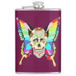 Butterfly Sugar Skull Flask