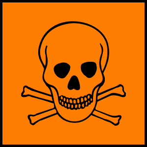The hazard symbol for toxic/highly toxic subst...
