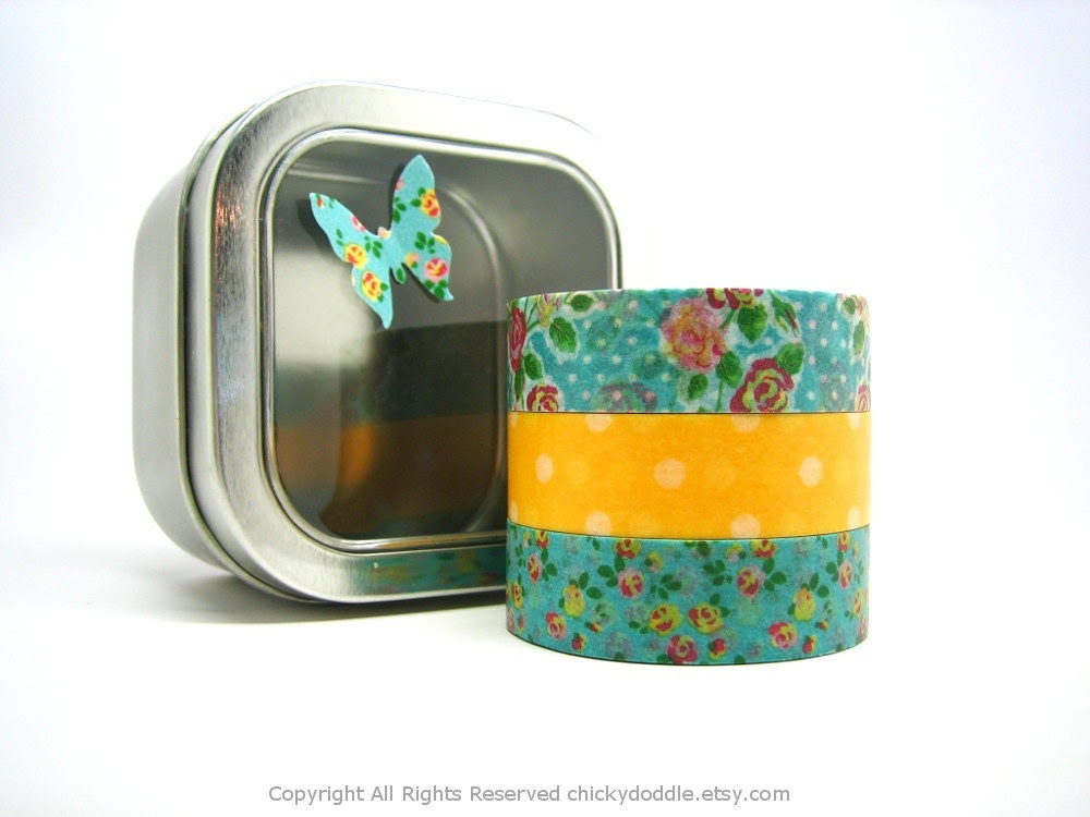Pink Roses and White Polka Dots on Yellow Japanese Washi Tapes Set with Free Storage Tin