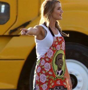 Rosie Hungtington-Whiteley wears an apron in TRANSFORMERS 3.  An Obama apron, that is.
