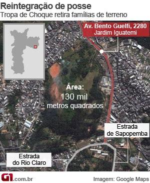 mapa reintegração de posse VALE ESTE (Foto: Arte/G1)