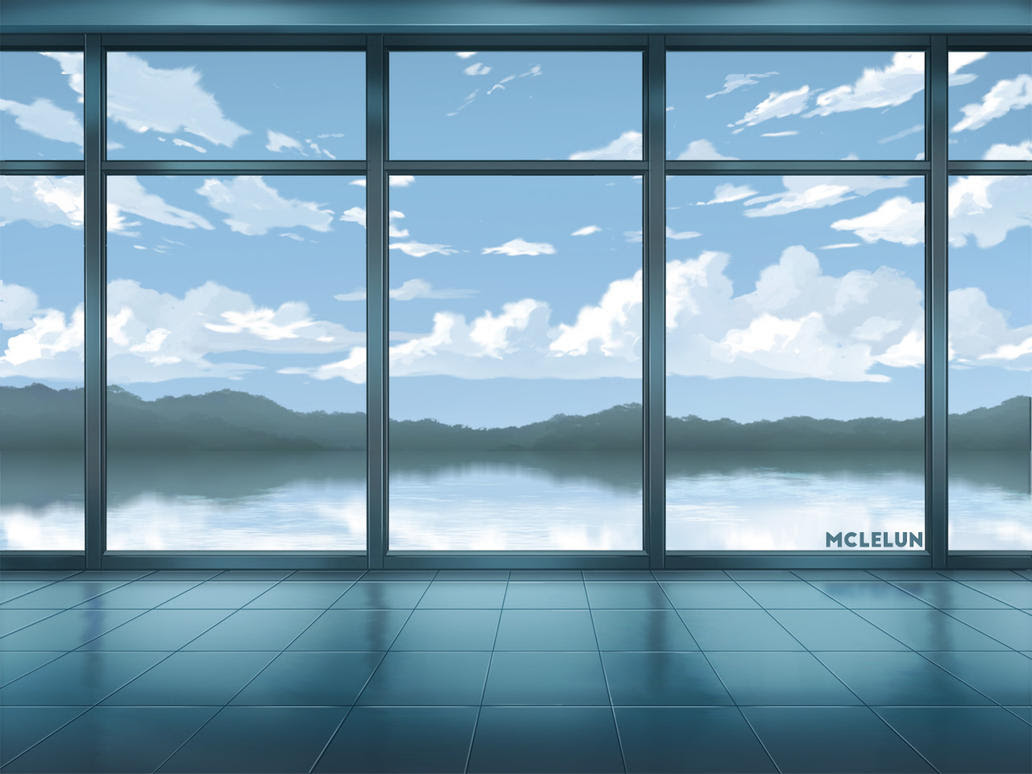 window lake scene painting