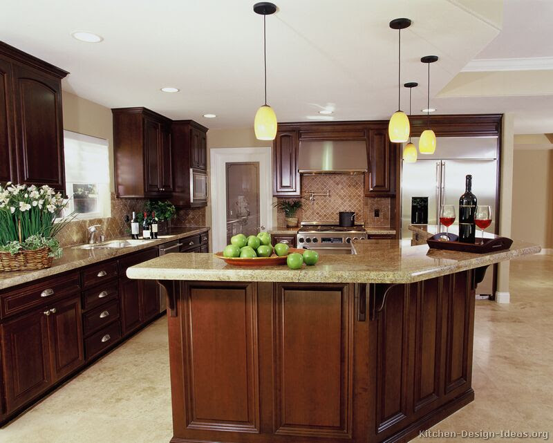 A Luxury Kitchen with Cherry Cabinets and a Large Island