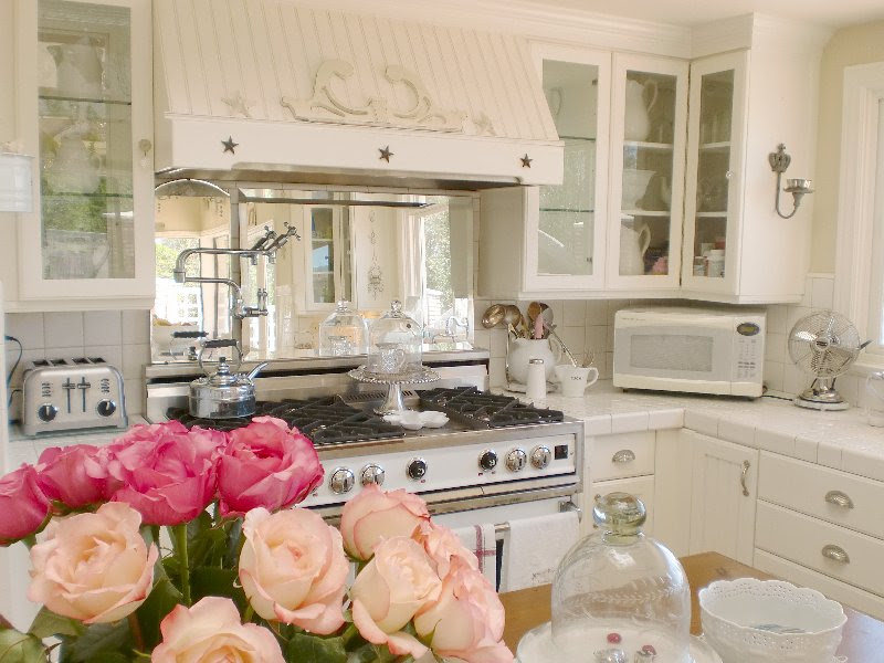 white ironstone cottage kitchen