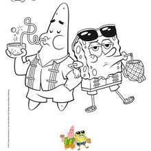 Dibujos Para Colorear Pintar A Bob Esponja Y Patricio A La Playa