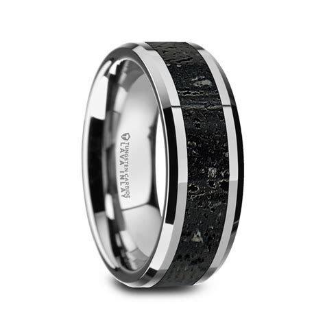 KILAUEA Men?s Polished Tungsten Wedding Band with Black
