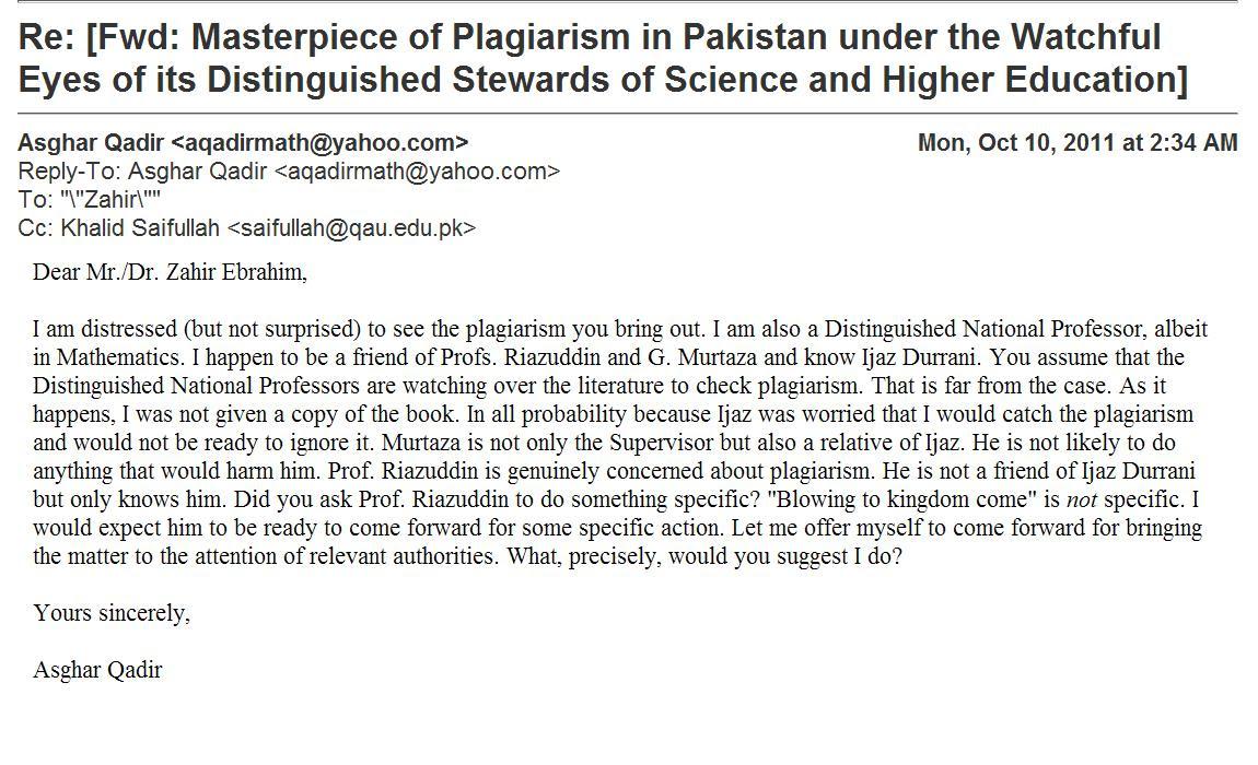 Response by Dr. Asghar Qadir Distinguished National Professor Oct 10, 2011