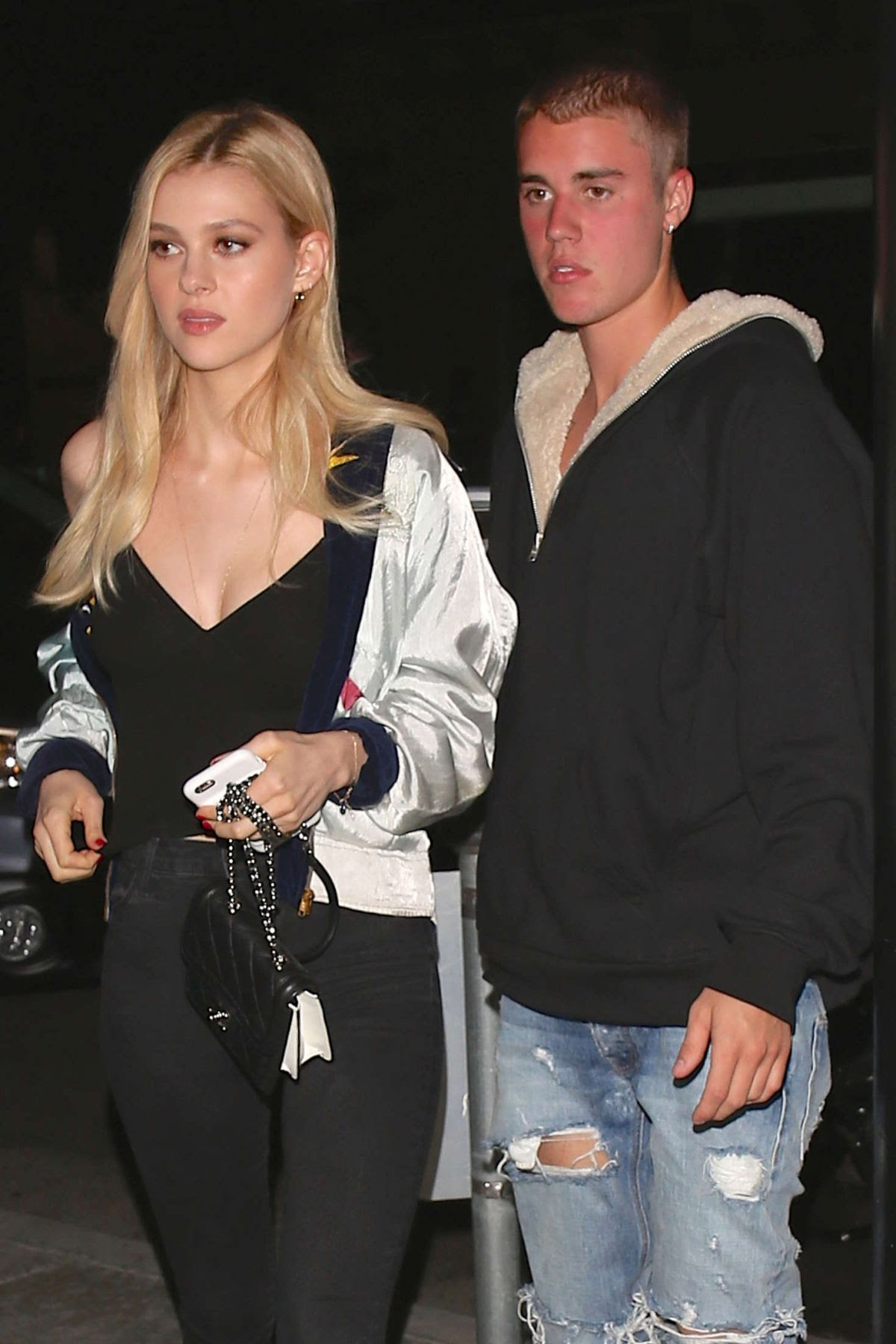 NICOLA PELTZ and Justin Bieber at Mastros Steakhouse in Beverly Hills 05/25/2016