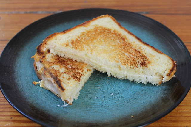 Grilled gruyere on Shadeau bread with truffle butter