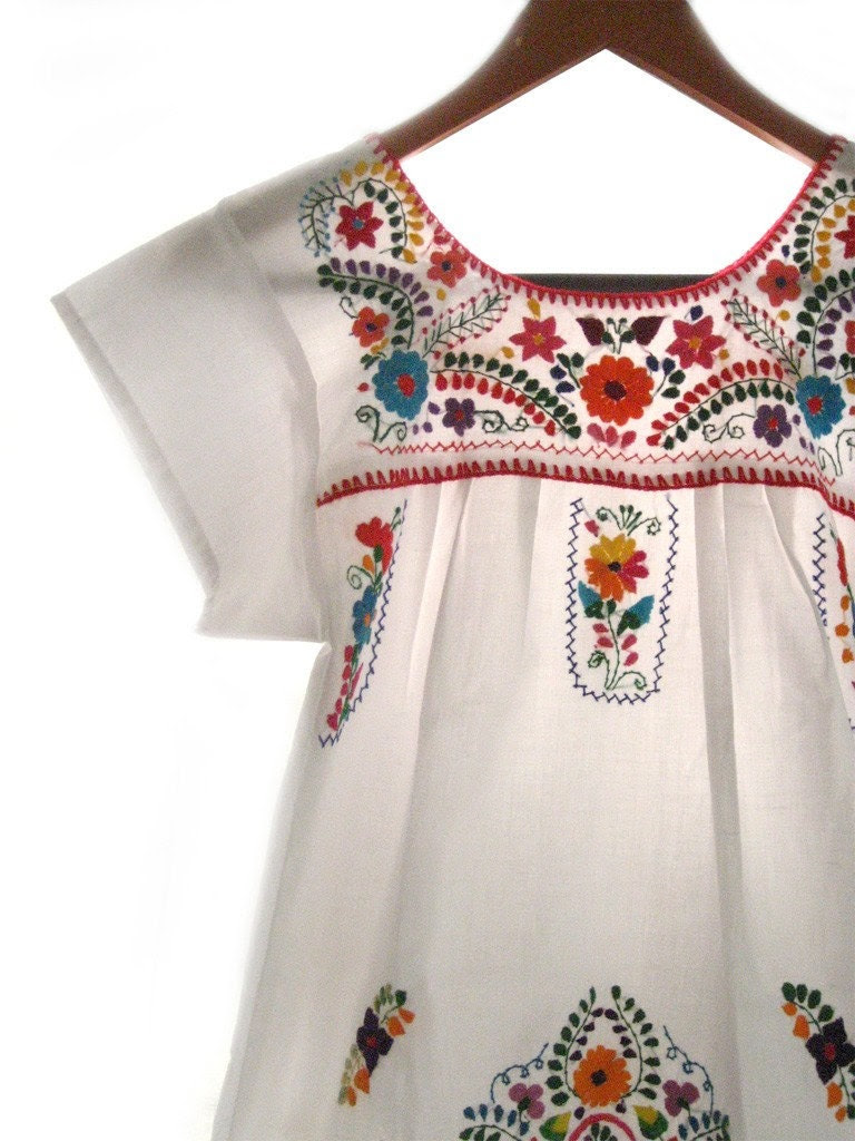 Mexican embroidered white tunic mini dress
