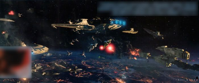 The opening space battle above Coruscant.
