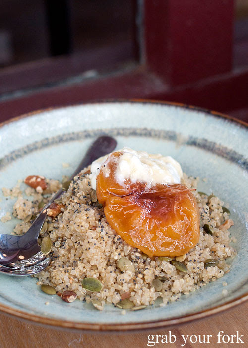 quinoa with yoghurt and peach at brickfields chippendale