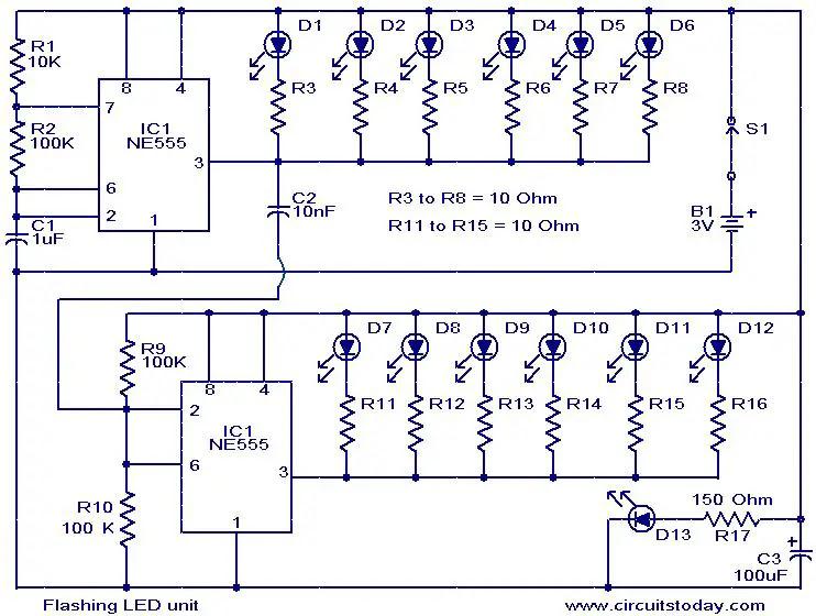 flashing-led-unit-circuit