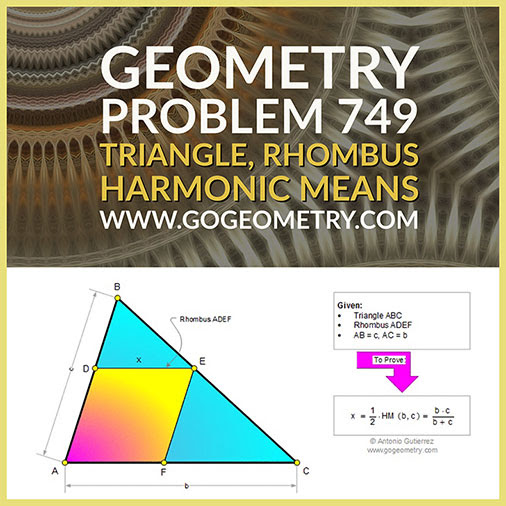Geometry Problem 749: Triangle, Rhombus, Parallel, Harmonic Means, Measurement, Typography, iPad Apps.