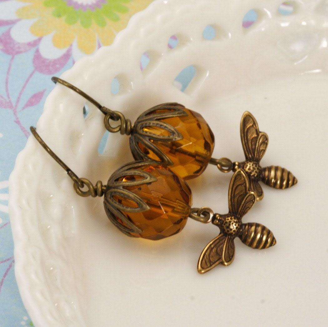 Golden Honeybee Brass Earrings