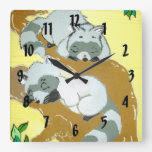 Baby Raccoon Sleeping Square Wallclock