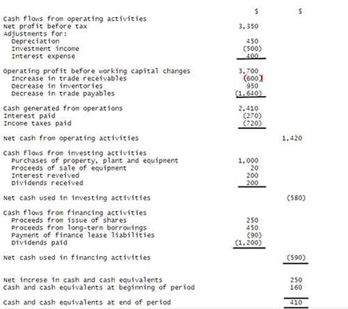 indirect cash flow statement example. Cash flow statement template: