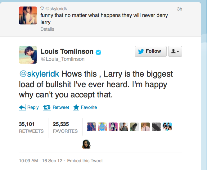 Louis Tomlinson tweets about Larry