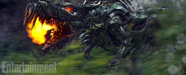 Grimlock breathes fire in this screenshot from TRANSFORMERS: AGE OF EXTINCTION.