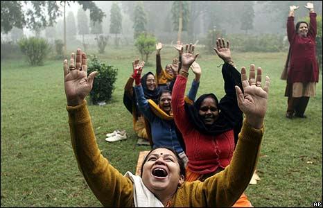 Local women exercise in Chandrasekhar Azad garden in Allahabad, India