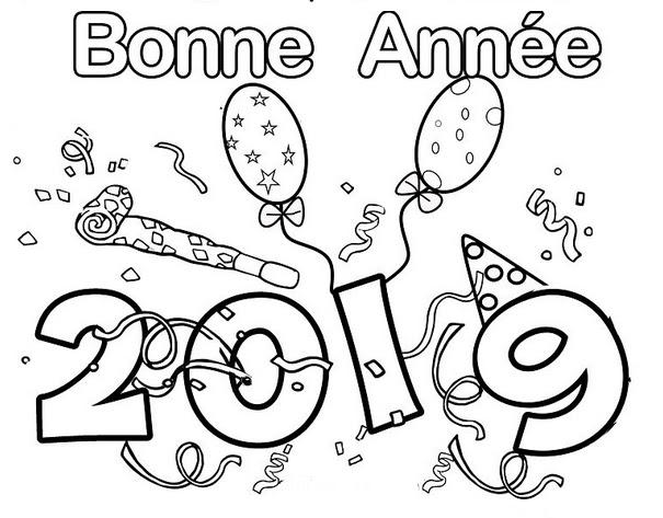 【Meilleur】 Bonne Année 2019 Coloriage