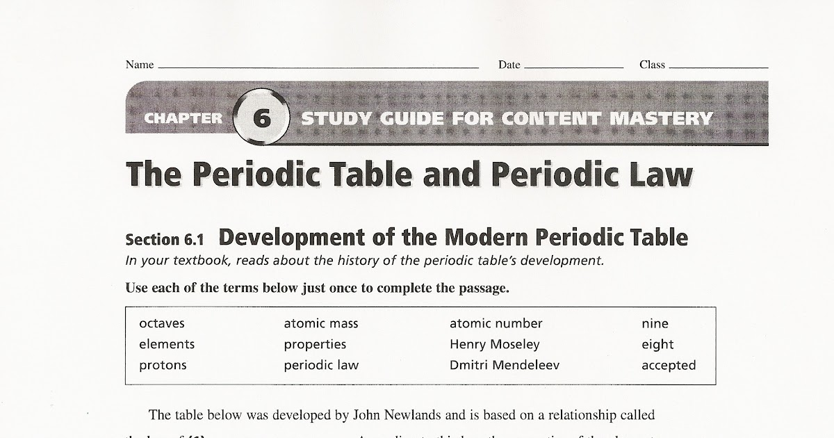 99 THE PERIODIC TABLE CHAPTER 6 QUIZ ANSWERS, ANSWERS ...