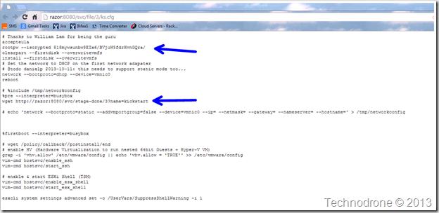 kickstart file from the API