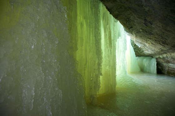 Interior of Eben Ice Falls Upper Peninsula MI