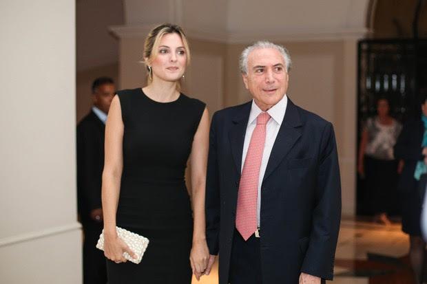 Marcela e Michel Temer no anievsrário de 70 anos da senadora Marta Suplicy, em 2015, em São Paulo (Foto: Bruno Poletti/Folhapress)