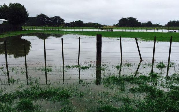 Flooding at Tasman Road in Otaki this morning.