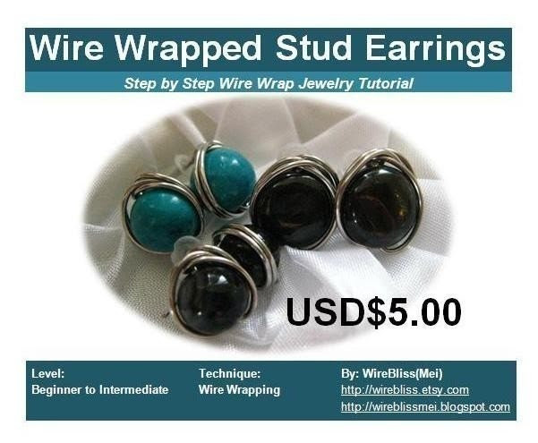 Tutorial for wire wrapped stud earrings