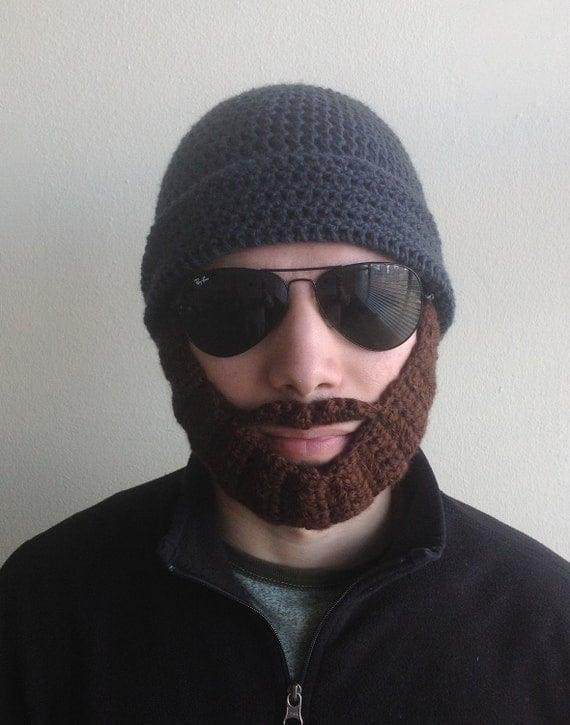 Handmade crochet PATTERN Detachable beard hat for adults,santa claus hat with beard in tutorial PDF file