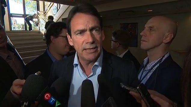 Le chef du PQ, Pierre Karl Péladeau, au conseil national du parti à Sherbrooke, le 21 novembre