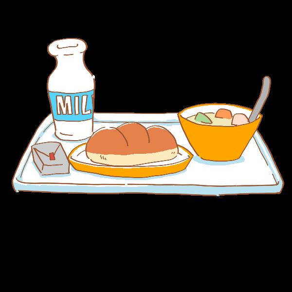 パンの給食のイラスト かわいいフリー素材が無料のイラストレイン
