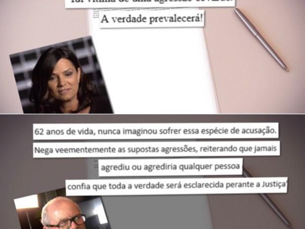 Luiza Brunet e Lírio Parisotto falaram sobre o incidente por meio de nota (Foto: TV Globo/Reprodução)