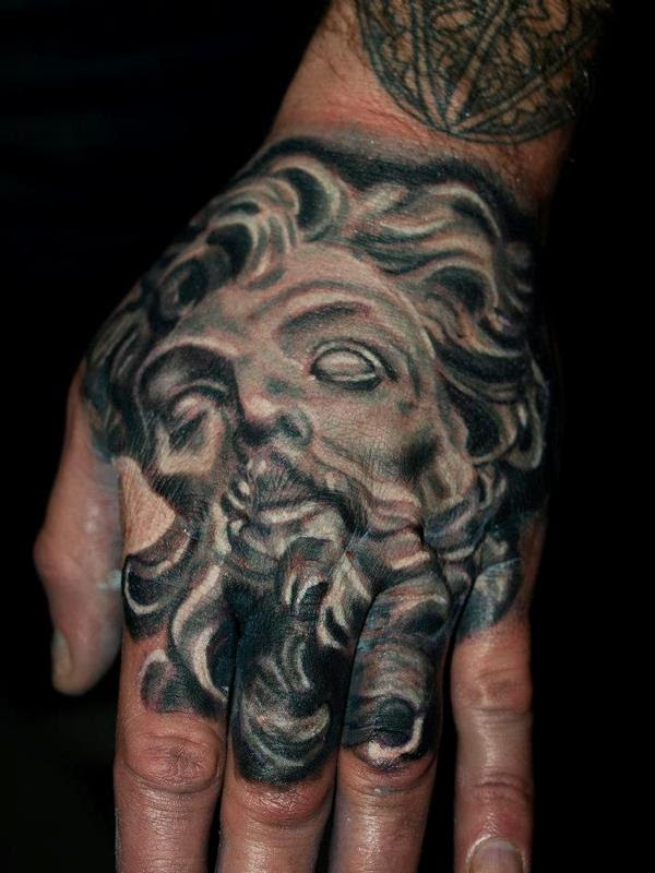Bernini Longinus Black And Grey Hand Tattoo By Cesar Perez Tattoos