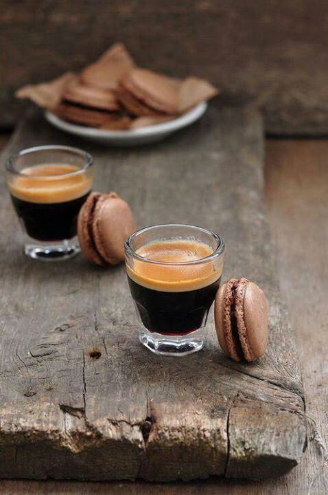 love the idea of serving espressi in tiny glasses with an espresso macaron against the side of glass..adorable presentation for one of our rustic-italian weddings