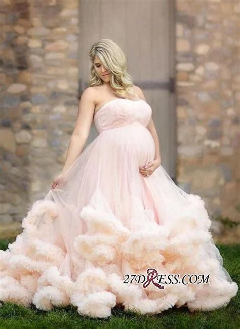 2019 Pink Maternity Long Cloud Strapless Pregnant Wedding