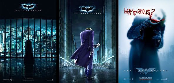 Theatrical posters for THE DARK KNIGHT.
