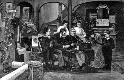 Edison phonograph illustration from 1888 Scientific American magazine