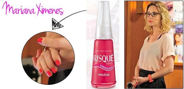 Juliana (Mariana Ximenes) usa o Malícia da Risqué (Foto: TV Globo e Divulgação)