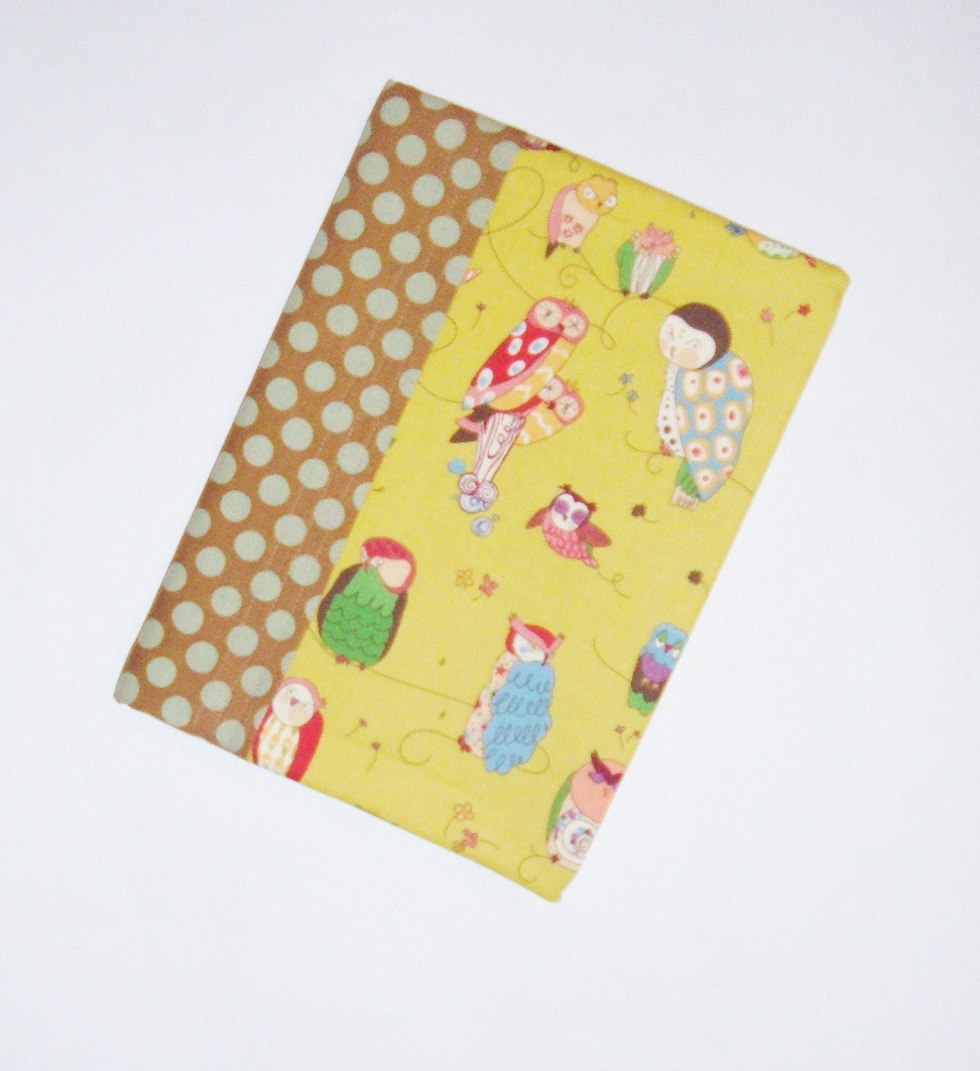 Journal - Fabric Covered Notebook  - Owls - Diary - Back to School - pasqueflower