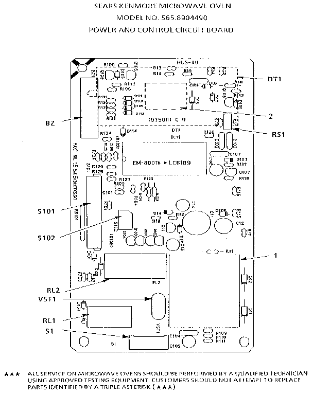 POWER AND CONTROL CIRCUIT BOARD Diagram & Parts List for ...