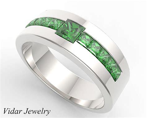 princess cut emerald wedding band  mens vidar jewelry